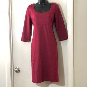 Talbots 10p maroon stretchy sheath dress